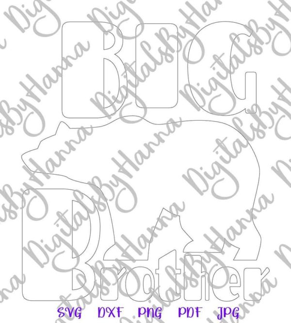 Bear Family SVG FIles for Cricut Big Brother New Baby Shower Bro Tee Word Cut Print