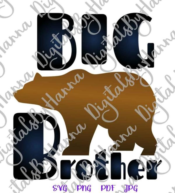 Big Brother SVG New Baby Shower Promoted Bro Sign Word Cut Print Sublimation