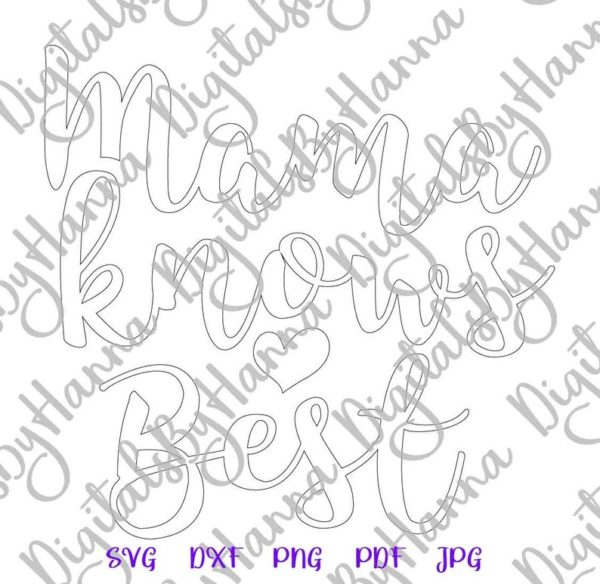 Mama Knows Best SVG Mamas Bestie Onesie Bodysuit Tee Print Sublimation