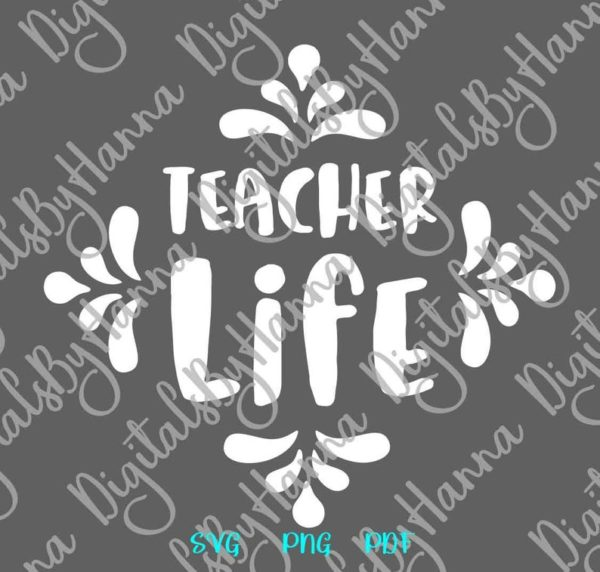 School SVG Saying Teacher Life Quote Tee Mug Cup Tumbler Lettering Cut Print