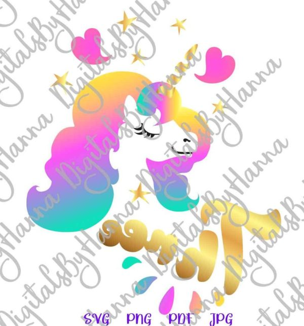Three Unicorn SVG Face Head Third Year Invitation Sign Onesie Tee Outfit Print Clipart