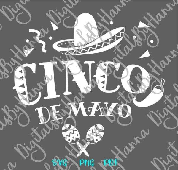 Cinco de Mayo Mexican Fiesta Maracas Clipart Celebrate t-Shirt Print Sublimation Cut