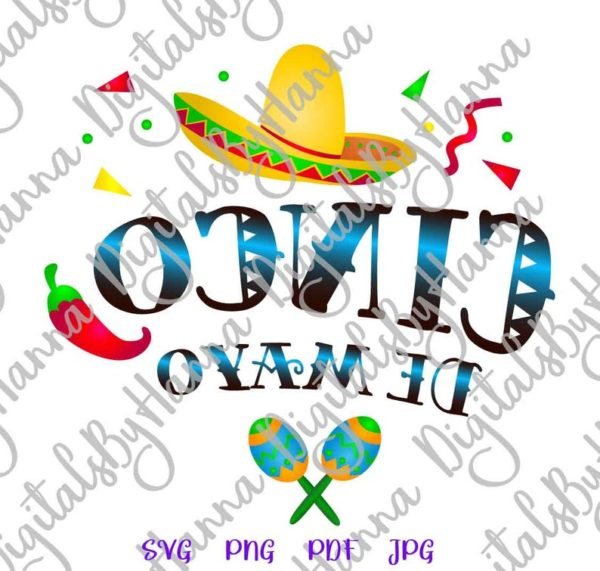 Cinco de Mayo Mexican Fiesta Sombrero Clipart Celebrate t-Shirt Print Sublimation Cut