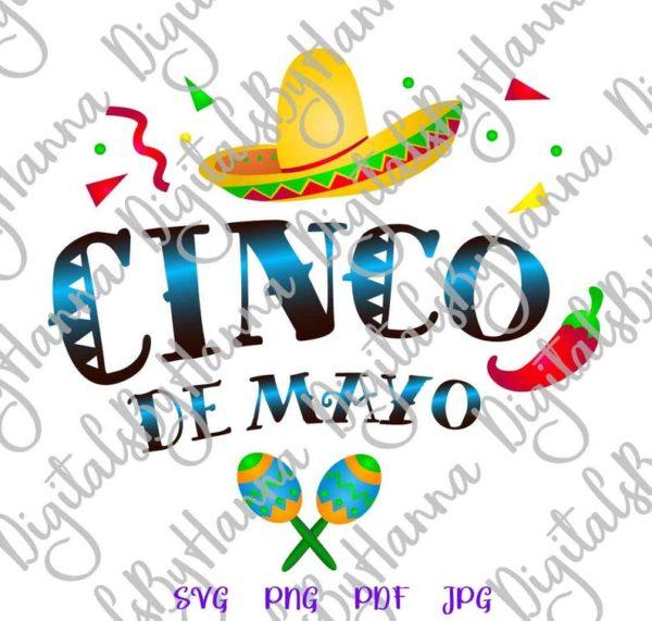 Cinco de Mayo Mexican Fiesta Sombrero Maracas Clipart Celebrate t-Shirt Print