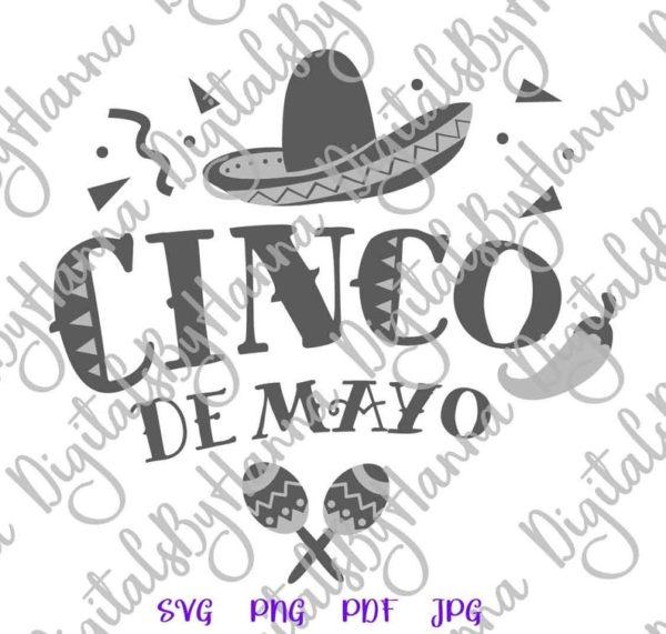 Cinco de Mayo Mexican Fiesta Sombrero Maracas Clipart Celebrate t-Shirt Print Cut