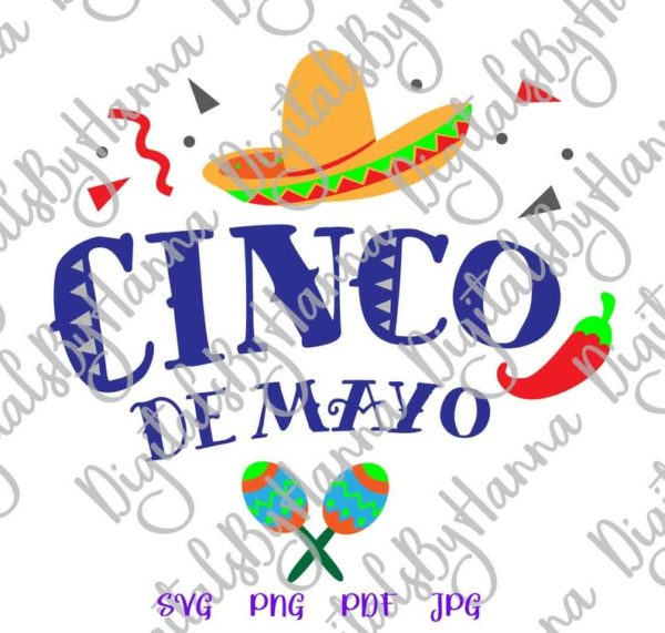 Cinco de Mayo Mexican Fiesta Sombrero Maracas Clipart t-Shirt Print Sublimation Cut