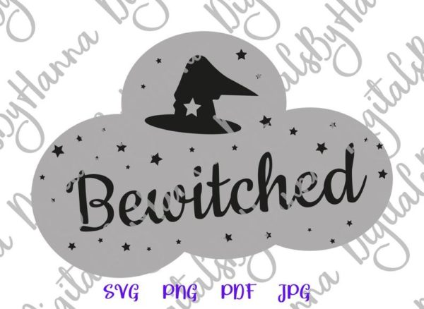 Bewitched SVG Witch Hat Clipart Invite Print tee Mug Cup Decoration Sublimation cut