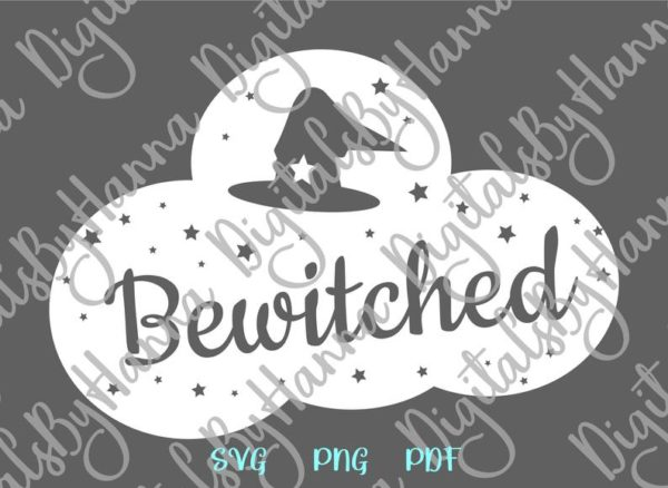 Bewitched SVG Witch Hat Clipart Invite Word Print tee Mug Cup Decoration Sublimation cut