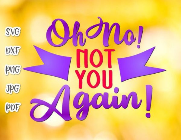 Front Door Mat Saying Oh No Not You Again Funny Sign Lettering Word Sarcastic Housewarming Gift Cut Print Sublimation