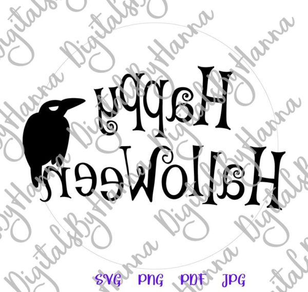 Halloween Raven on the Moon Clipart Party Outfit Decor Print Tee Mug Cut Sublimation