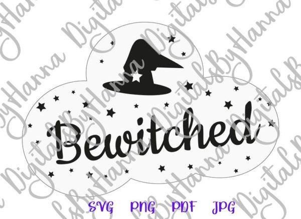 Halloween SVG Bewitched Witch Hat Clipart Invite Print tee Mug Cup Decoration Sublimation cut