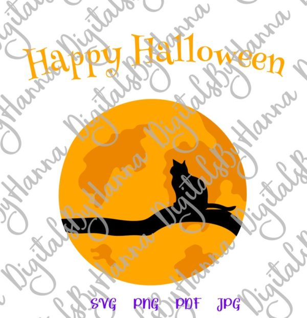 Halloween SVG Cat on the Moon Clipart Party Outfit Decor Print Tee Onesie Tumbler Cut Sublimation