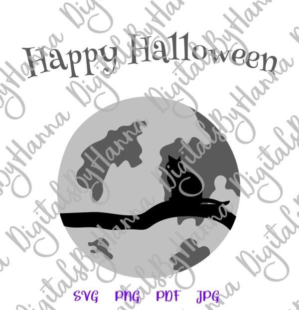 Halloween SVG Cat on the Moon Clipart Party Outfit Decor Print Tee Onesie Tumbler Cut Sublimation Sign