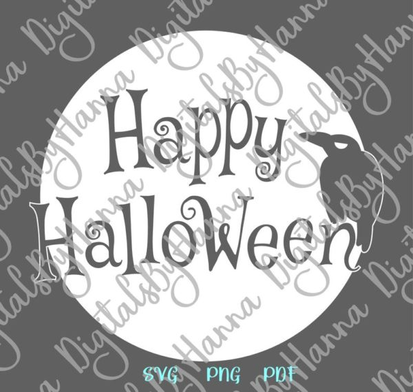 Halloween SVG Raven on the Moon Clipart Party Outfit Decor Print Tee Tumbler Cup Mug Cut Sublimation