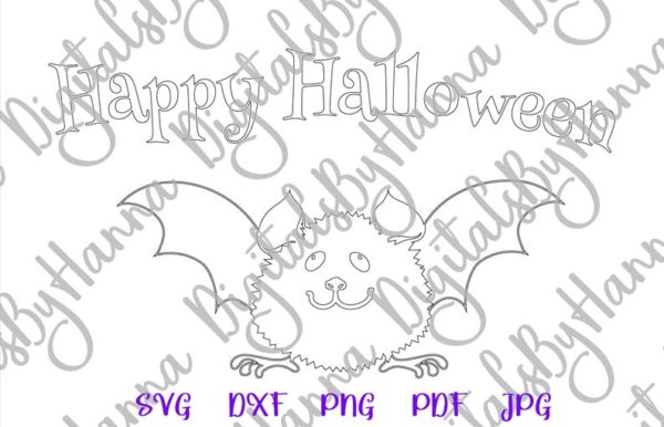 Happy Halloween Cute Baby Bat Clipart My First Party Outfit Quote Saying Print Tee Onesie Cut Sublimation