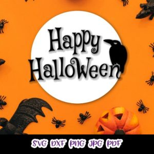 Happy Halloween Raven on the Moon Clipart Party Outfit Decor Print Tumbler Cut Sublimation Sign