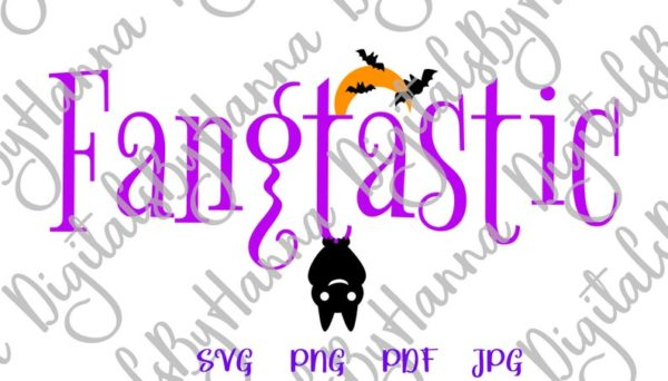 Happy Halloween SVG Fangtastic Cute Bat Moon Clipart Invite Print tee Cup Tumbler Decor Sublimation cut