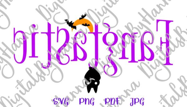 Happy Halloween SVG Fangtastic Cute Bat Moon Clipart Invite Word Print tee Cup Tumbler Decor Sublimation cut