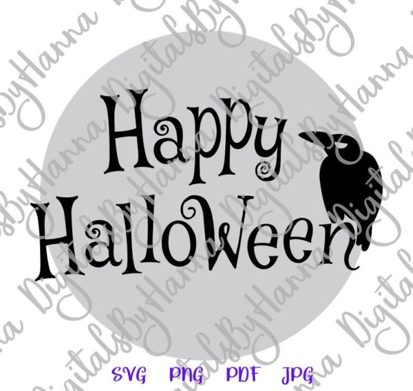 Happy Halloween SVG Raven on the Moon Clipart Party Outfit Decor Print Cut Sublimation Sign