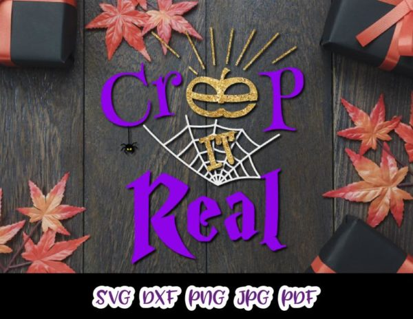 Creep it Real Spider Web Pumpkin Clipart Sign Letter Print Cut Tee Outfit Tote Bag