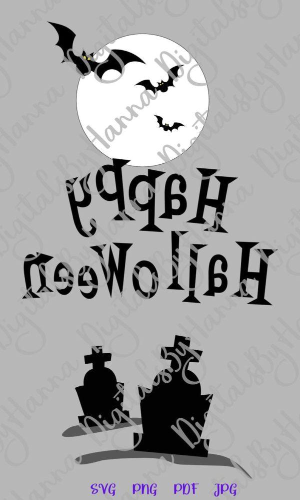 Halloween SVG Bats Moon Graves Party Outfit Decor Print Tee Tumbler Cup Mug