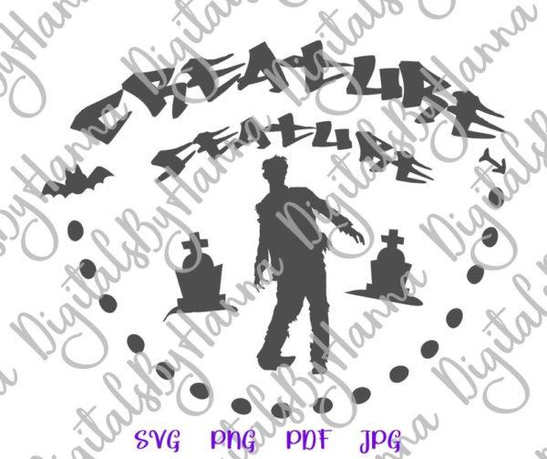 Halloween SVG Creature Feature Zombie Clipart Walk Dead Sign Letter Print Bag Sublimation