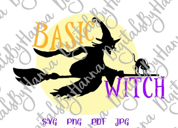 Halloween SVG File for Cricut Saying basic Witch Flying Broom Moon Cat Clipart Print Sign
