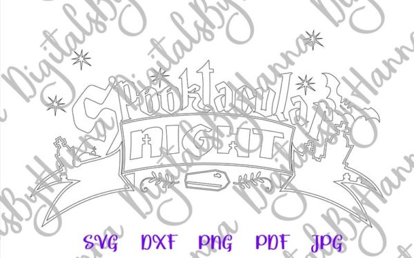 Halloween SVG File for Cricut Spooktacular Night Clipart Spook Sign Print Cut Decor Sublimation