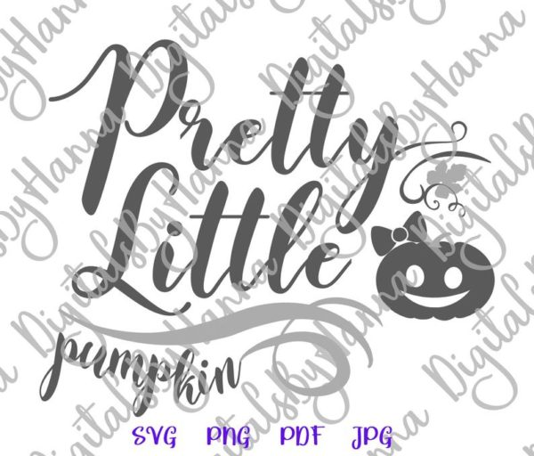 Halloween SVG Pretty Little Pumpkin Clipart Print First Baby Outfit Girl Tote Bag Sign