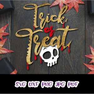 Halloween SVG Trick or Treat Dripping Skull Bloody Clipart Print cut Sign Sublimation