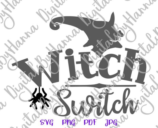 Halloween SVG Witch Switch Spider Head face Hat Print tee Tumbler Outfit Sublimation