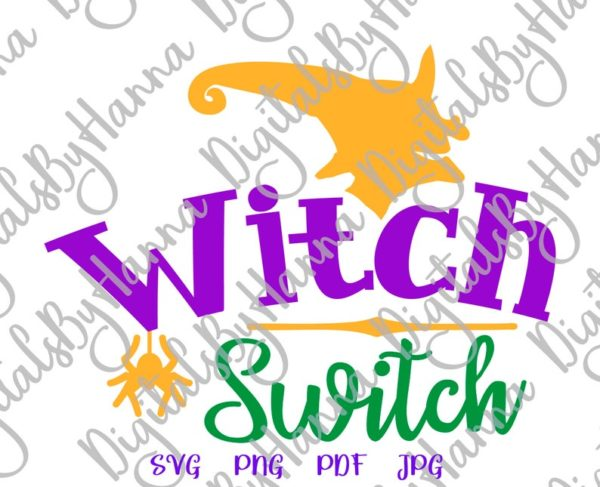 Halloween SVG Witch Switch Spider Head face Hat Word Print tee Bag Sublimation