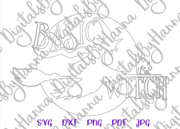 Halloween SVG basic Witch Flying Broom Moon Cat Clipart Print Tumbler Bag cut Sign