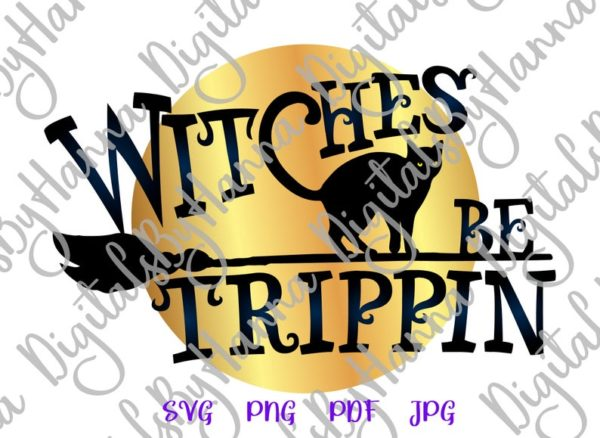 Halloween Witches be Tripping Flying Broom Moon Cat Print tee Tumbler Outfit
