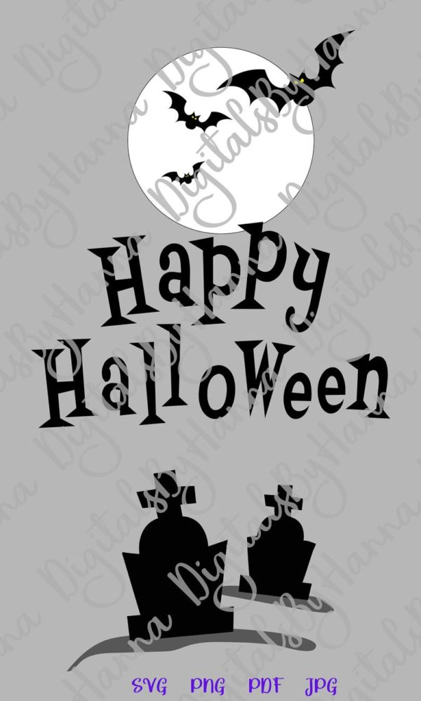Happy Halloween Bats Moon Graves Party Outfit Decor Letter Print Tumbler Cup Mug Cut Sign