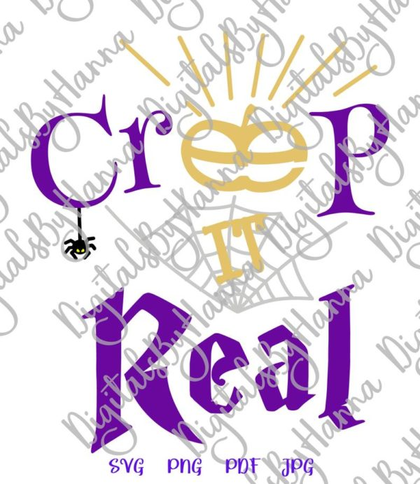 Happy Halloween Creep it Real Spider Web Pumpkin Clipart Letter Print Cut Tee Outfit Tote
