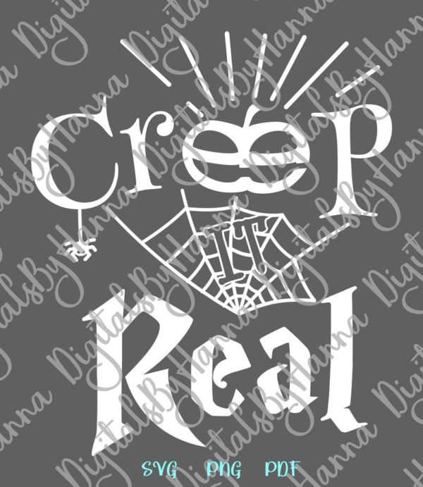 Happy Halloween SVG Creep it Real Spider Web Pumpkin Clipart Sign Print Cut Tee Outfit Tote Bag