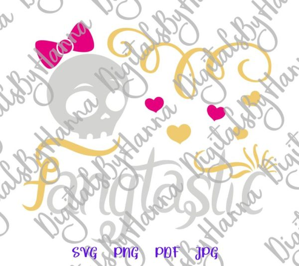 Happy Halloween SVG Fangtastic Cute Girl Skull Clipart Invite Print tee Cup Tumbler Sublimation