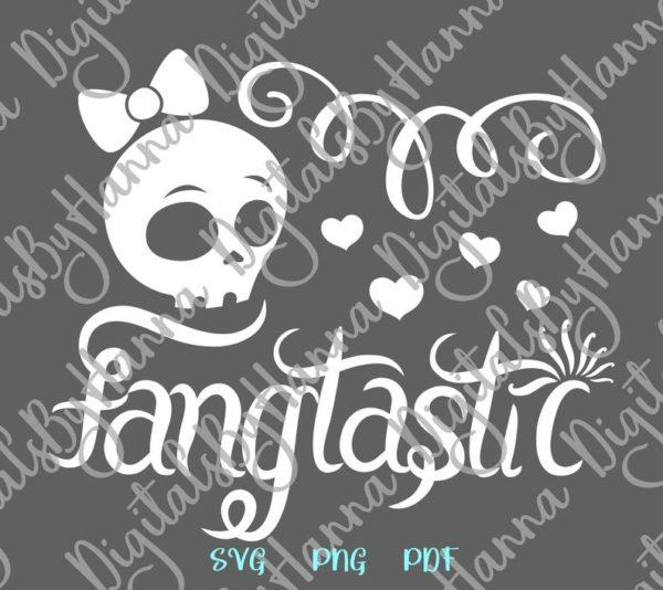Happy Halloween SVG Fangtastic Cute Girl Skull Clipart Print tee Cup Tumbler cut Sign
