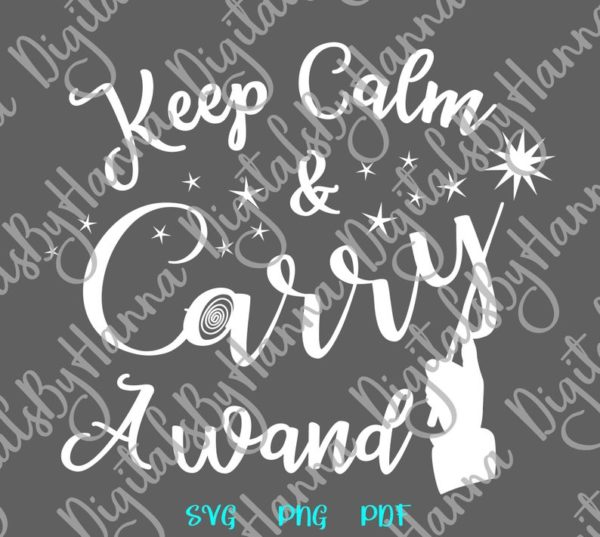 Happy Halloween SVG File for Cricut Saying Keep Calm and Carry a Wand SVG Clipart Sign Letter Word Print Cut Tee Outfit Tote Bag Sublimation