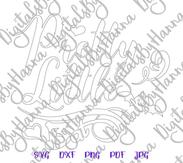 Happy Halloween SVG File for Cricut Saying Pretty Little Bat Clipart Print First Baby Outfit Toddler