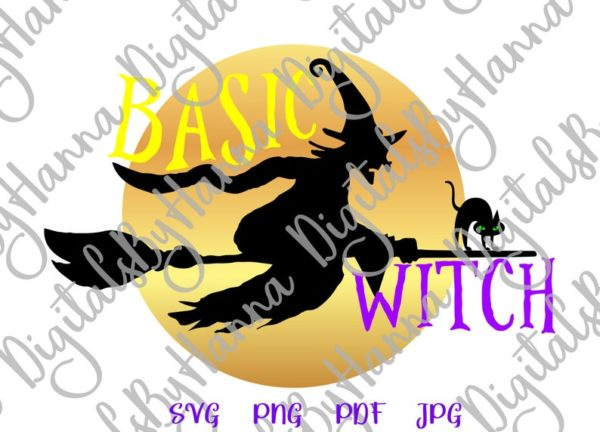 Happy Halloween SVG File for Cricut Saying basic Witch Flying Broom Moon Cat Clipart