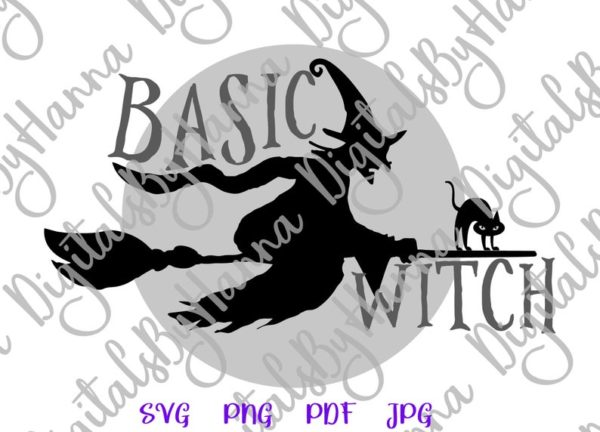 Happy Halloween SVG File for Cricut basic Witch Flying Broom Moon Cat Clipart Print