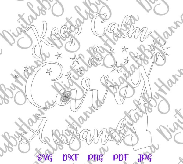 Happy Halloween SVG Keep Calm and Carry a Wand SVG Clipart Sign Print Cut Tee Outfit Tote Bag
