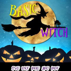 Happy Halloween basic Witch Flying Broom Moon Cat Clipart Print cut Sign